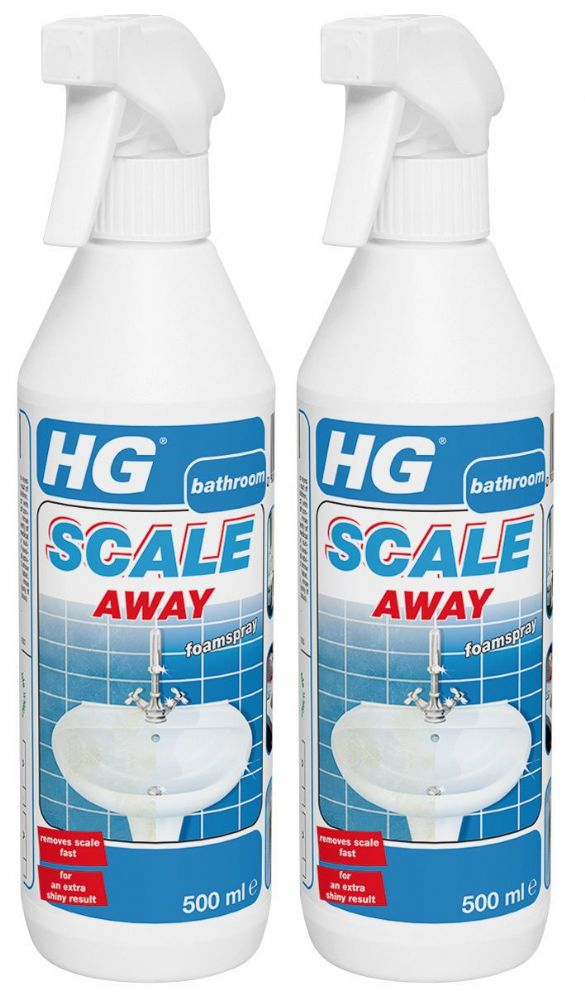 HG Bathroom Limescale Remover Foam Spray Cleaner Scale Away 500ml twin pack